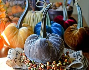 1 Large Steel Gray Silk Velvet Pumpkin, Fall Decor, Table Centerpiece, Homemade Rustic Decoration