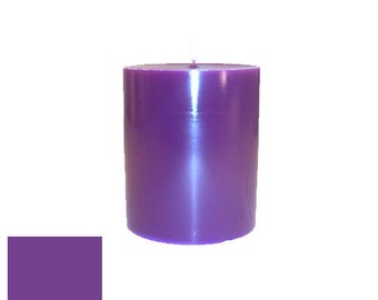 3 x 3.5 Purple Classic Hand-poured Unscented Pillar Candles Solid Color