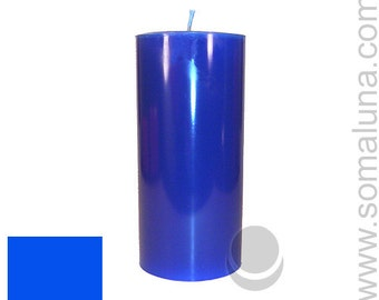 3 x 6.5 Blue Classic Hand-poured Unscented Pillar Candles Solid Color