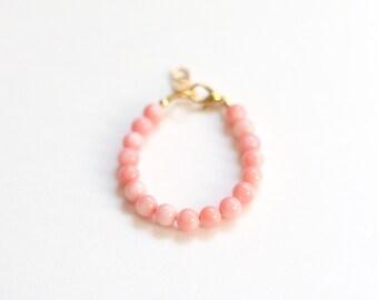 Bamboo Coral bracelet, girls 5mm bead bracelet