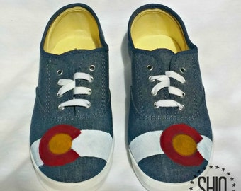 Hand Painted Shoes, Colorado Flag Shoes, Colorad Design Shoes, Painted Flag Shoes, Colorado Pride Shoes, Colorado Sneakers, Hand Pained