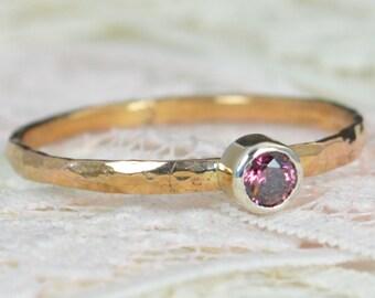 Alexandrite Engagement Ring,14k Rose Gold, Alexandrite Wedding Ring Set, Rustic Wedding Ring Set, June Birthstone,Solid 14k Alexandrite Ring