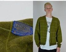SALE PENDLETON | Medium | 1980 Vintage Mens Cardigan Green Stripe Grid Button Down 80s Sweater