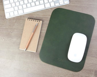 Leather Mouse Pad - Leather Mouse Pad -Personalized Mouse Pad - Mouse Mat - Classic Green