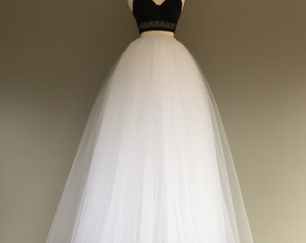 Floor length tulle skirt, white tulle skirt, adult tulle skirt, tulle wedding dress,ANY COLOR