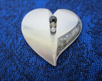 Vintage Heart Shaped Pendant-stainless steel one of a kind statement piece with 3 faceted Rhinestones & delicate scrolling. Valentines gift!