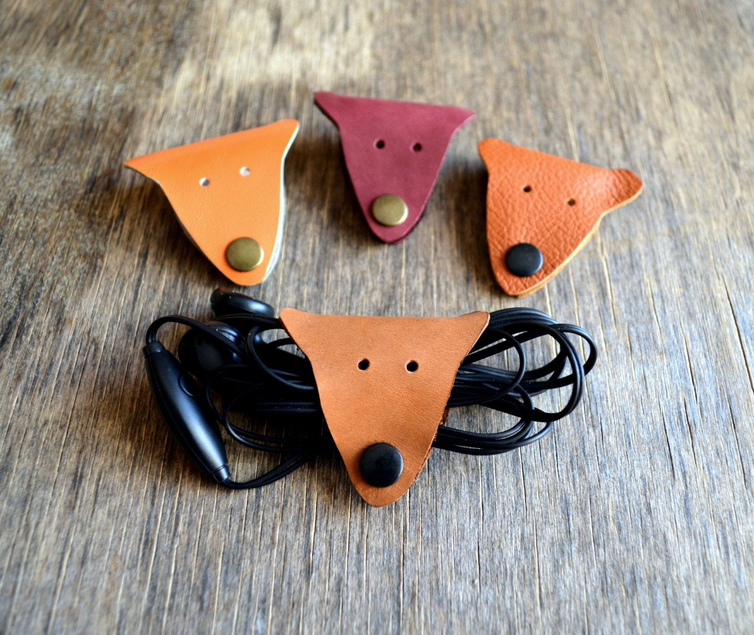 Cord Holders: Cord Holder Fox Cord Organizer Fox Earbud Holder Leather Cable