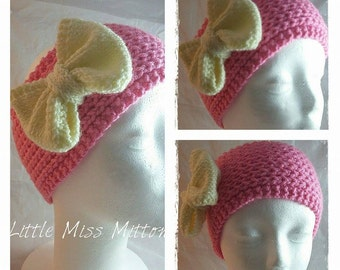 SALE, Pink and Cream Bow Hand Knitted Ear Warmer