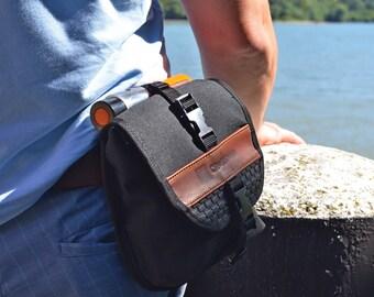 HIP BAG waterproof Cordura black U lock holster christmas gift bicycle waist pack belt tactical modular traveling commuting