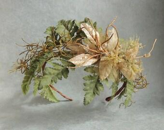 Bohemian Forest Hair Wreath, Rustic Woodland Crown Tiara, Wedding Hair Accessories, Boho Vine Crown, Floral Wreath Crown, Woodland Headband