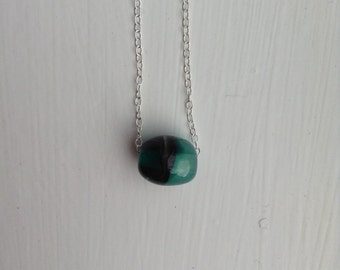 Green glass bead and sterling silver pendant necklace, bead necklace, Christmas gift, stocking filler, gift for her