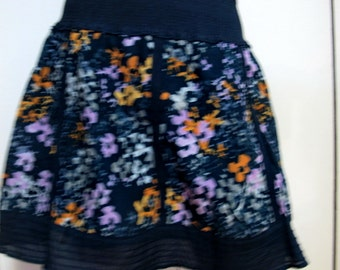 Free People Navy Purple Floral Print Elastic Waist Lined Cotton, S/ M