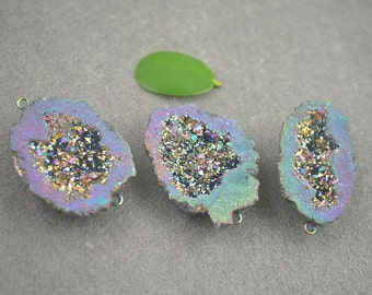 3 - 5pcs Charm Geode Quartz Druzy Connector Beads in Purple AB Color, Crystal Drusy Gemstone Pendant, Druzy Connector Jewelry Findings
