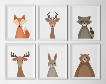 Woodland Animal set, white background, art printables, nursery Decor, animal nursery, art illustration prints, woodland nursery kids room