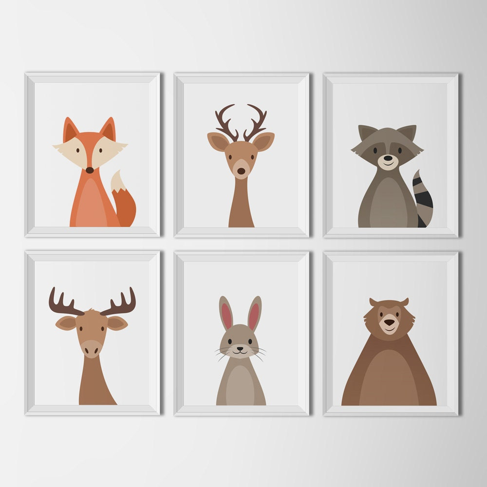 Woodland Animal Set White Background Art Printables Nursery