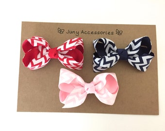 Set 3 Chevron Hair Bow with Non Slip Clip  --  Set 3 Red,Navy Blue and Lt PInk