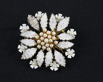 White Vintage Enamel and Pearl Brooch, Pearl Brooch, J172