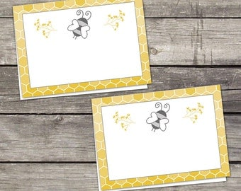Bee Food Labels or Cards - Place Cards - Baby Shower Food Tent Labels - Blank Folded Cards - 241