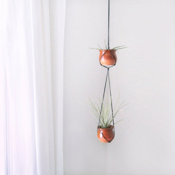 Hanging Terracotta Pots: Small Vintage Terracotta Hanging Planters Modern Macrame