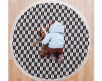 Baby Roundies Round Rug Tummy Time Play Mat Nursery Baby Blanket Blanky Flatlay Play Rug