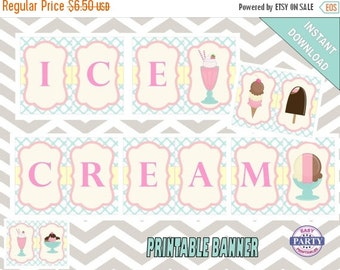 50% OFF SALE Sundae Party Ice Cream Banner, Instant Download, Sundae party, pink, teal and yellow, print at home, coordinating items availab