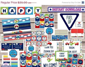 60% OFF Transportation Birthday Party Instant Download Printable Party Package, planes, trucks, cars, helicopters, trains, print from home,
