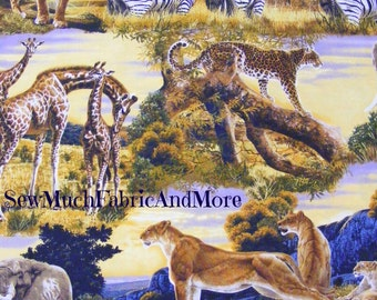 Bringing Nature Home Fabric~Giraffes~Zebras~Lions~Tigers~Elephants~Jungle~Africa~by the yard or 1/2 yd~14048~Robert Kaufman