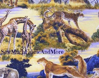 Bringing Nature Home Fabric~Giraffes~Zebras~Lions~Tigers~Elephants~Jungle~Africa~by the yard~14048~Robert Kaufman