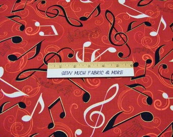 All That Jazz Fabric~Musical~Notes & Scores~Red~by the yard~Robert Kaufman~cotton~Music