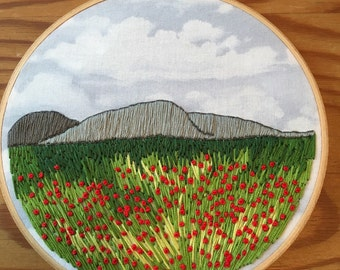 Field of poppies embroidered hoop