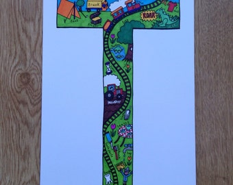 Alphabet Letter 'T' Colour Print
