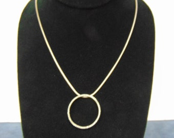 Women's Vintage Estate .925 Sterling Silver Necklace w/ Round CZ Pendant  12.5g #E2303