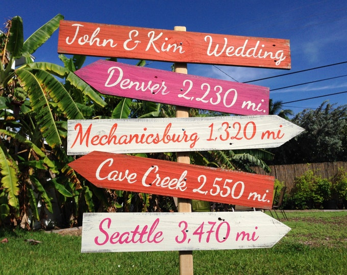 Garden Wedding Decor Wood Directional Sign, Outdoor Wedding Decoration, Rustic Ceremony Sign, Gift for Family / Friends