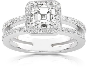 Asscher Cut Diamond Engagement Ring 1 1/3 Carat (ctw) In 14k White Gold
