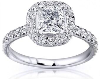 Princess Cut Diamond Engagement Ring 1 2/5 Carat (ctw) In 14k White Gold