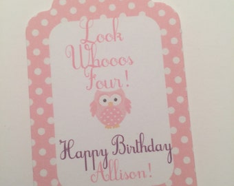 Set of 25 Personalized Look Whoooos Birthday Pink Purple Favor Tags Gift Tags