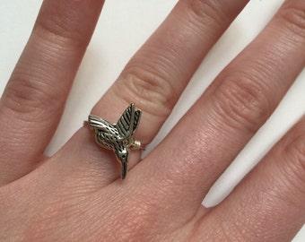Silver Hummingbird Ring