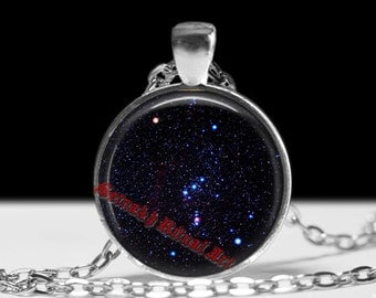 Orion's belt necklace, star constellation pendant, astronomy jewelry, ancient aliens, occult art, magick, Three Kings or Three Sisters #347