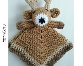 Baby Deer Blanket, Baby Deer Lovey, Baby Toys Handmade, Woodland Baby Shower, Forest Baby Shower, Plush Deer,  New Baby Gift, Crochet Lovey