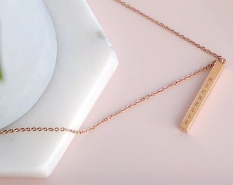 Gold Name Bar Necklace, Dainty Name Necklace, Initial Necklace, Bridesmaid Gift ideas, Love Gift, Rose Gold Necklace, Rose Gold Bar Necklace