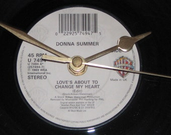 "Donna Summer love's about to change my heart 7"" vinyl record clock"