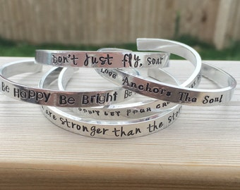 Hand stamped personalised cuff bangle, cuff bracelet, inspirational bracelet, motivational, personalised bracelet, Mother's Day gift