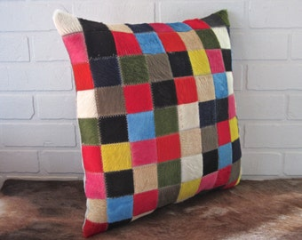 New real hair on cowhide pillow in wonderful multicolour patchwork - FREE shipping in Canada and USA.