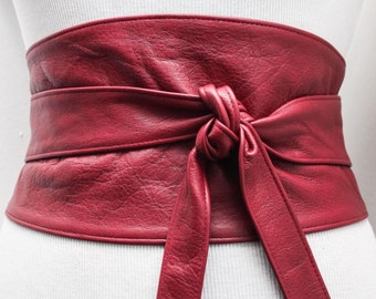 Red Leather Wide Obi Belt| Red Corset Belt | Leather obi belt | Wide Waist Belt| Plus size belts