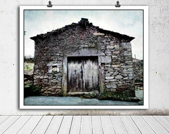 Rustic decor, house photo, travel photography, Europe photography, blue, home decor, architectural photography, stone, wood door
