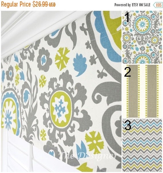 Kitchen Curtains Yellow And Gray: SALE Yellow Green Valance Blue Valance Grey By