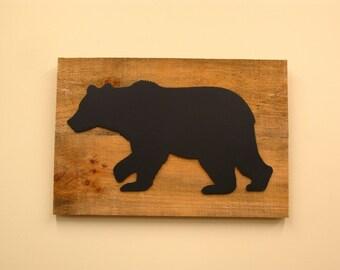 "Bear Silhouette on Barn Wood 11"" x 17"""