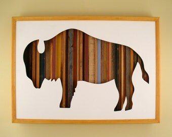 """Buffalo Silhouette - 17"""" by 11"""" Recycled Wood Silhouette Wall Art"""