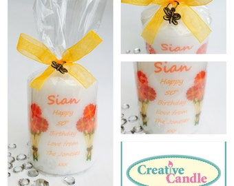 Personalised floral bouquet gift candle, birthday, thank you, thinking of you