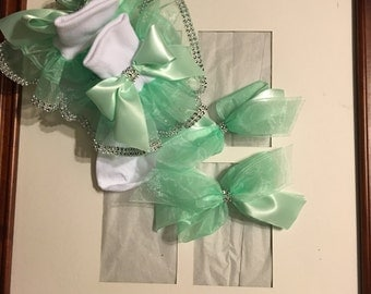 Girls mint green organza ruffle trim socks and bows